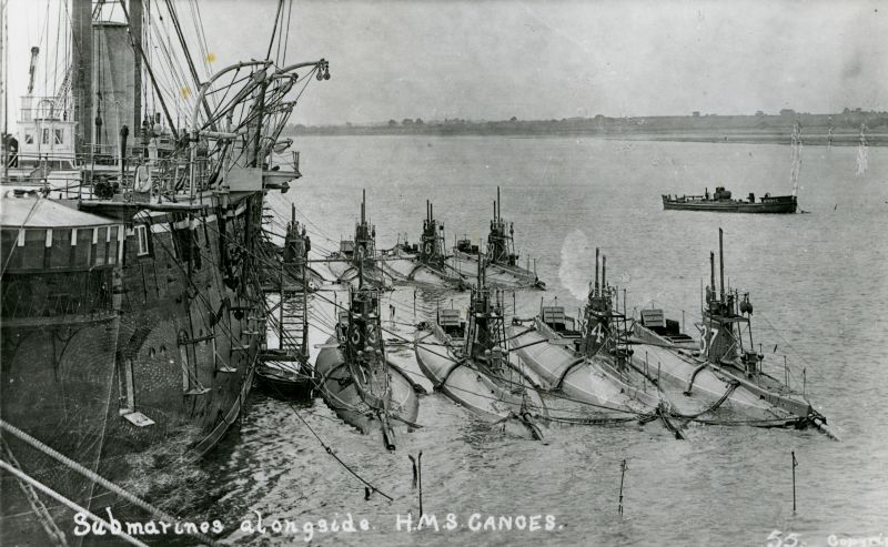 Submarines alongside HMS GANGES at Harwich.
