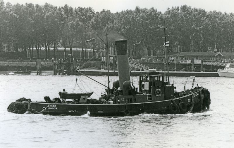 Steam tug BRENT on the Thames 1972 or 1973. 