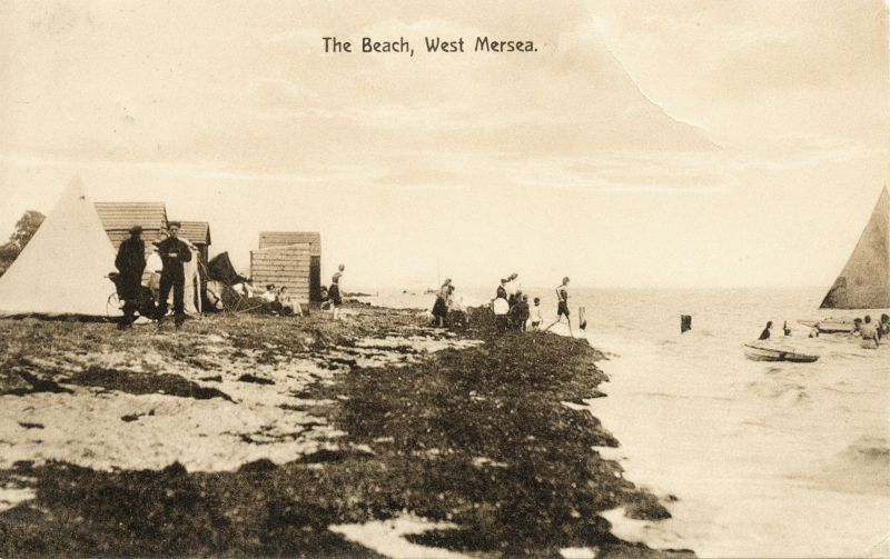 The Beach, West Mersea, with some early beach huts. 