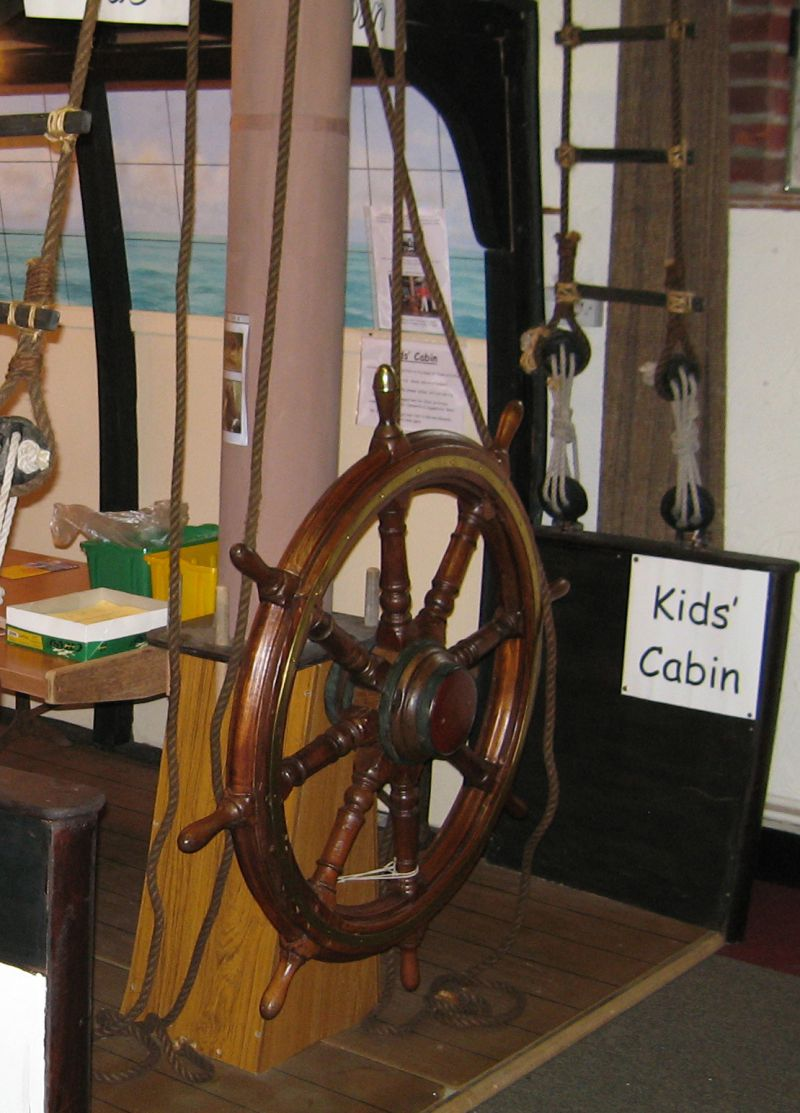 Kids Corner in Nelson's cabin - Mersea Museum 2006. The wheel is from the barge UNITY