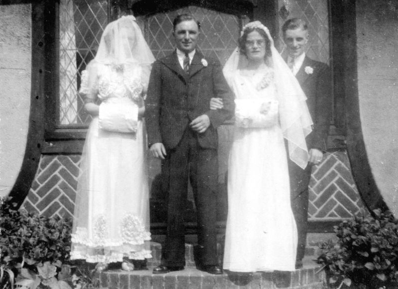 Herbert and Kathleen Mole's Wedding. The bridesmade is Joyce Keene née Stoker and the Best Man is Claude Mole. 