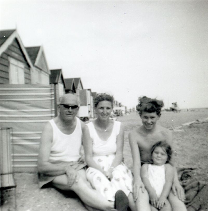 Mersea Beach Huts. L-R Tom Millatt, Betty Millatt, Peter Millatt and Susan Millatt. 