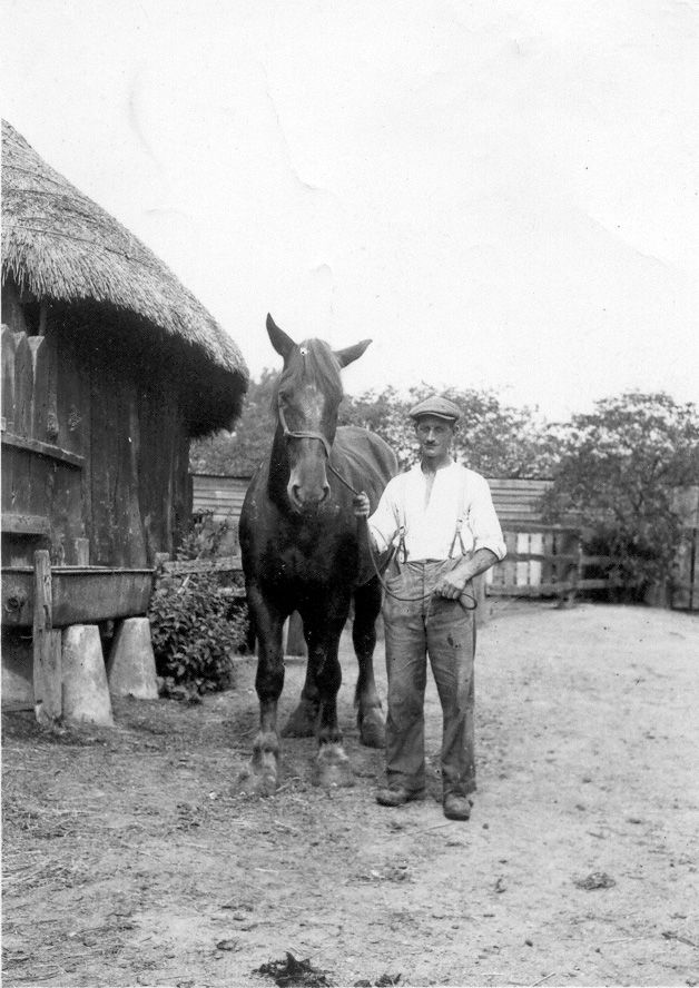 Frank Marriage and Blossom at Weir Farm, c1930