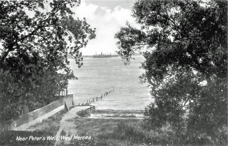 Monkey steps and Monkey beach. Near St. Peter's Well. Laid up ships in the river. Pre-WW2 