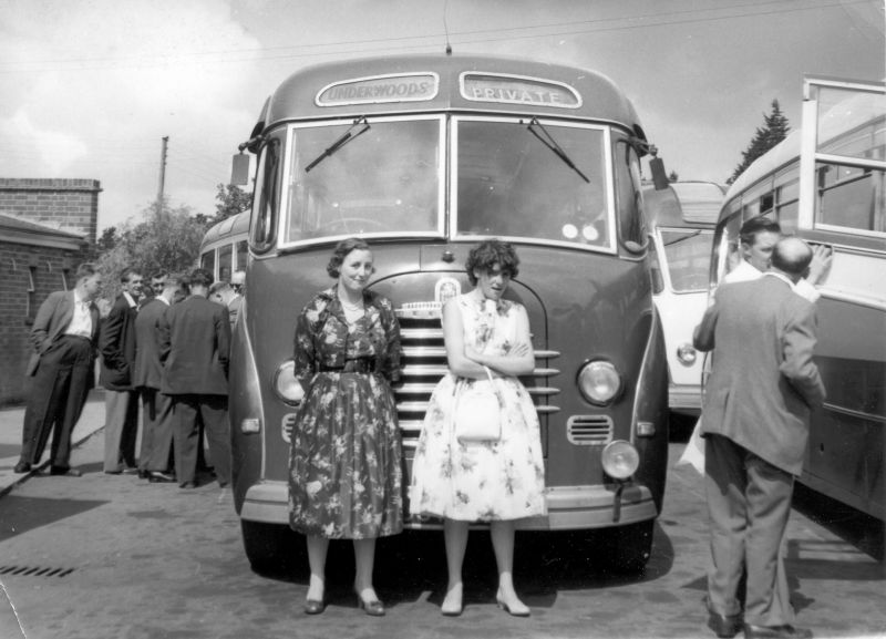 Underwood's Bedford bus. Jenny Mills in front on the left. 