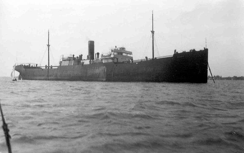 Cargoship laid up in the River Blackwater. Probably the NAANA Official No. 135324, 5,119 grt, built 1913 and owned by the Continental Indies Shipping Company when she was in the river February 1934 to June 1935. Date: c1935.