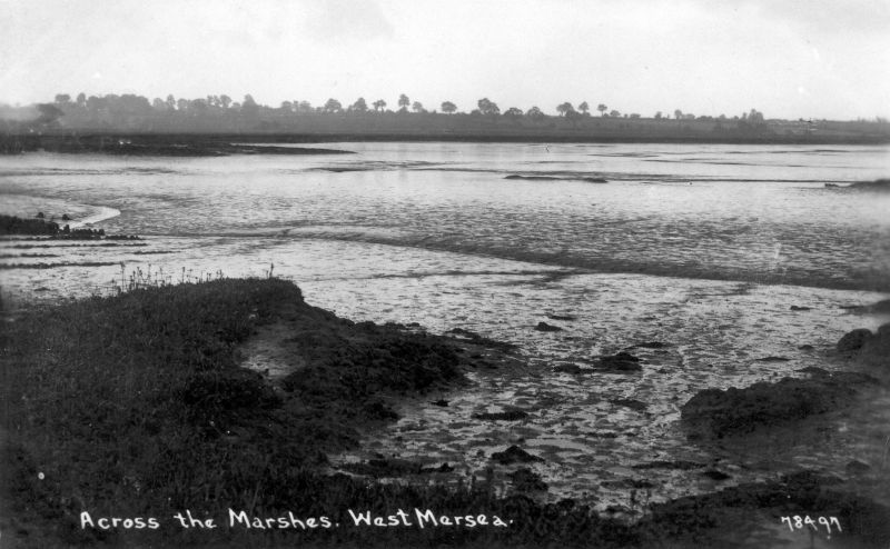 Across the Marshes, West Mersea. Postcard 78497 postmarked 1938 