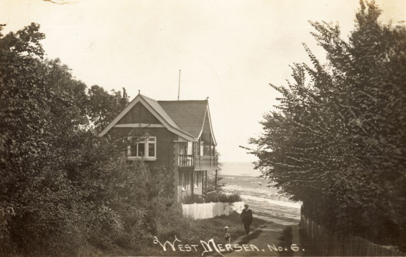 West Mersea No. 6. The Boat House, Beach Road. Posted to Miss Ruffell 35,37 High Street, Colchester. Probably 11 Aug 1919 