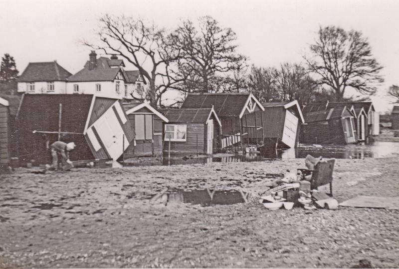 Beach Huts at West Mersea after the 1953 Flood 