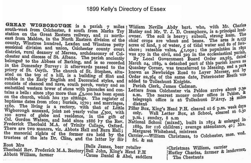 Kelly's Directory, Great Wigborough 