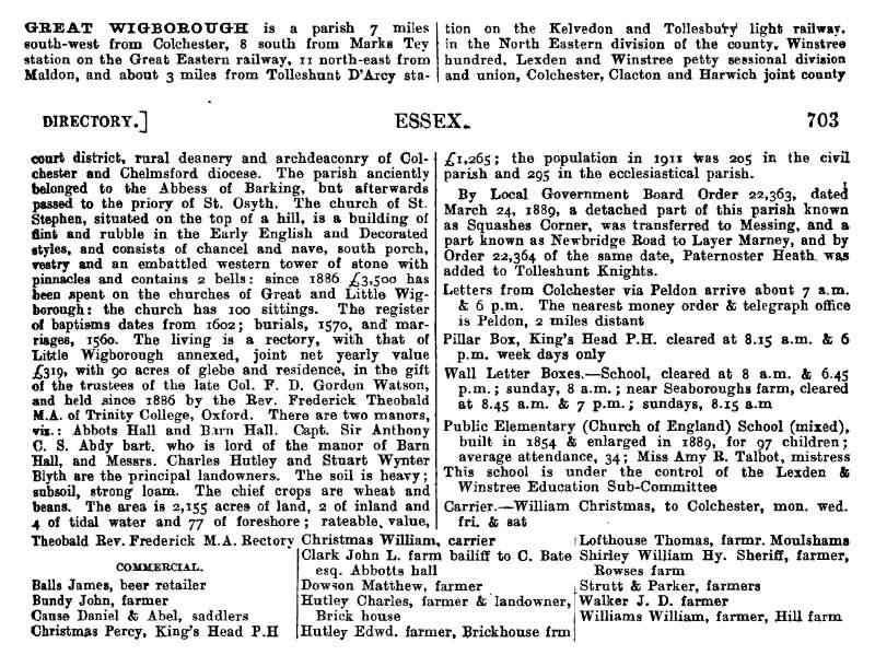 Great Wigborough - Kelly's 1914 Directory Pages 702 and 703