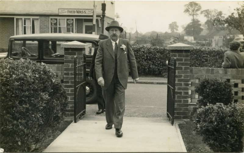 Charles Brown arriving at the West Mersea Methodist Church in Mill Road for the wedding of his grandson Victor French (son of Ethel Brown) and Joyce Green. Charles would be aged 82 in this photo. 