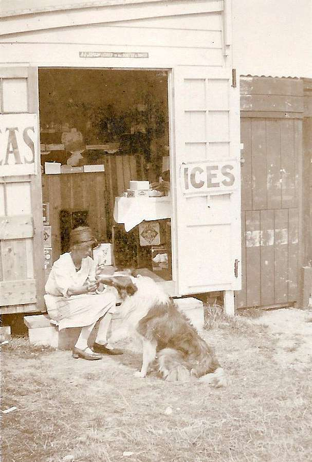 Jopson's Beach shop - near the bottom of Empress Avenue? Either before WW1 or between WW1 and WW2. The sign over the door says A. Jopson Licenced to sell Cigarettes and Tobacco. 