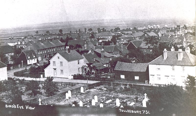 Birds-eye view from Tollesbury church tower, looking towards Woodrolfe on the right and West Mersea distant centre.