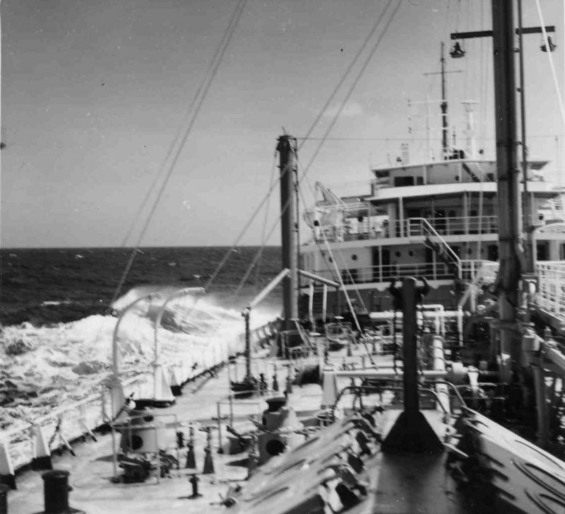 NEVERITA at sea --- during her 11 month charter to Dutch Shell Tankers N.V. before being laid up in the River Blackwater. Date: c1961.