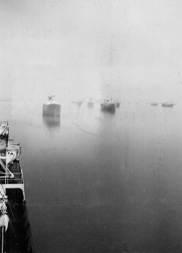 View from BRAZILIAN PRINCE of laid up shipping in the River Blackwater. The vessel astern in MARIA DE LARRINAGA. Date: c1958.