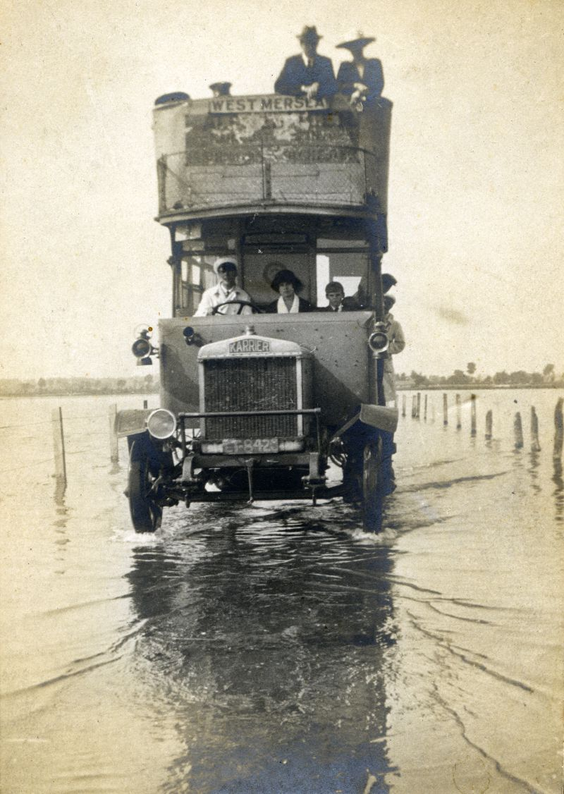 Alf Stacey and Primrose Bus crossing the Strood at high tide. Karrier, probably LT8426.