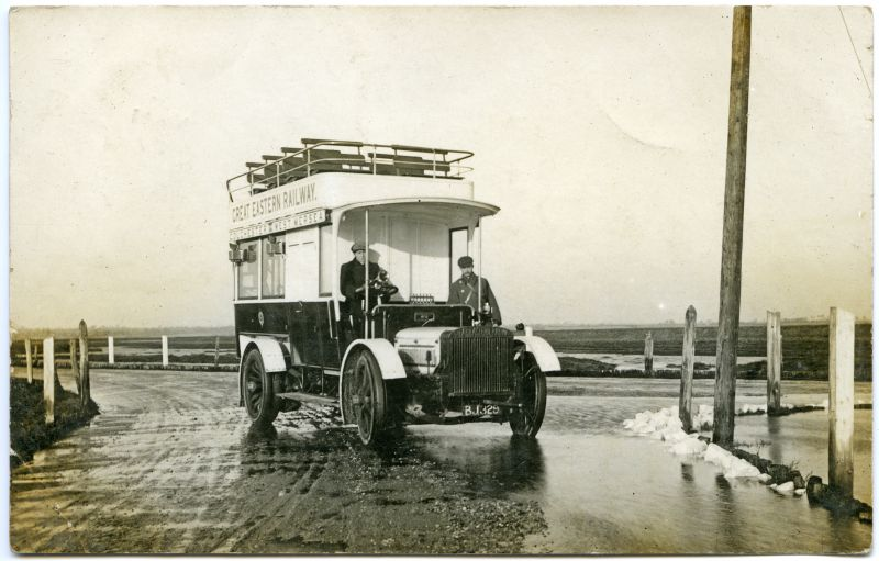 Great Eastern bus at the Strood, Mersea Island. BJ329.