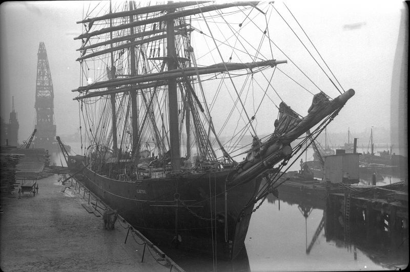 Barque ALASTOR - either in Millwall Dock, London, or Birkenhead. Date: c1935.