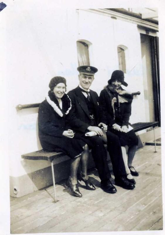 Muriel, Captain Anderson & Tora. The ship is unidentified, but another photograph shows some of the Hewes family on board DARCOILA, and when DARCOILA was lost in the War, her Captain was William Anderson - but DARCOILA did not arrive until February 1932. Date: April 1931.
