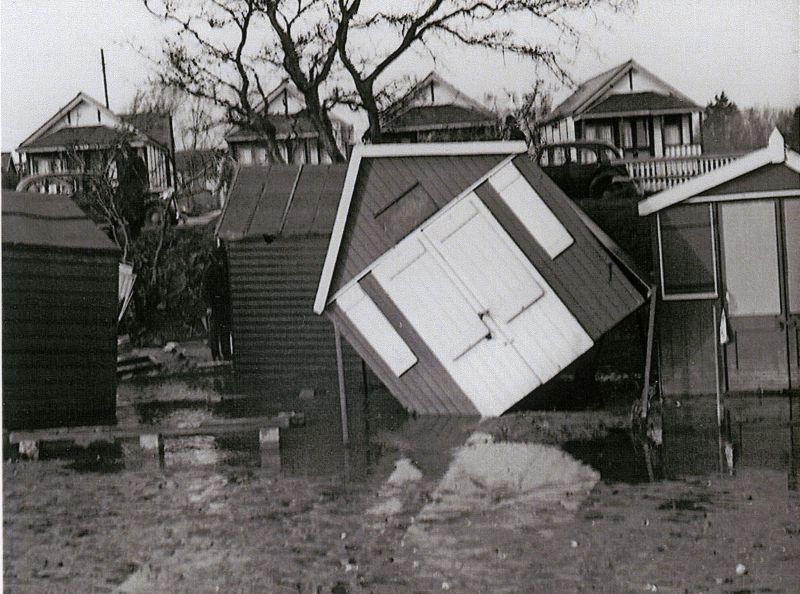 Beach Huts after the 1953 Floods. Between Fairhaven and Seaview Avenue. 