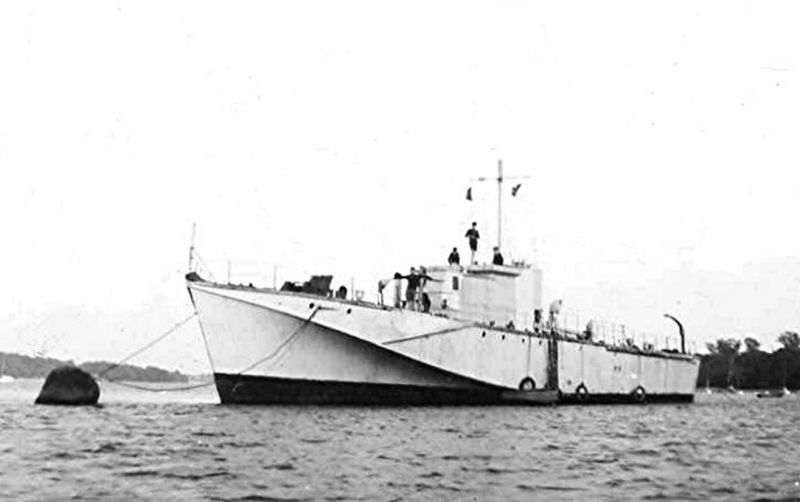 Around 1947, the Ipswich Sea Scouts had been loaned by the Admiralty, an ex-wartime, Fairmile 'D' MTB, which was permanently moored fore, and aft, just off the hard at Pin Mill for a few years, on the Orwell. This had had the engines removed and that space converted to general accommodation. The forward and aft living accommodation, including the galley, was left in situ. 
