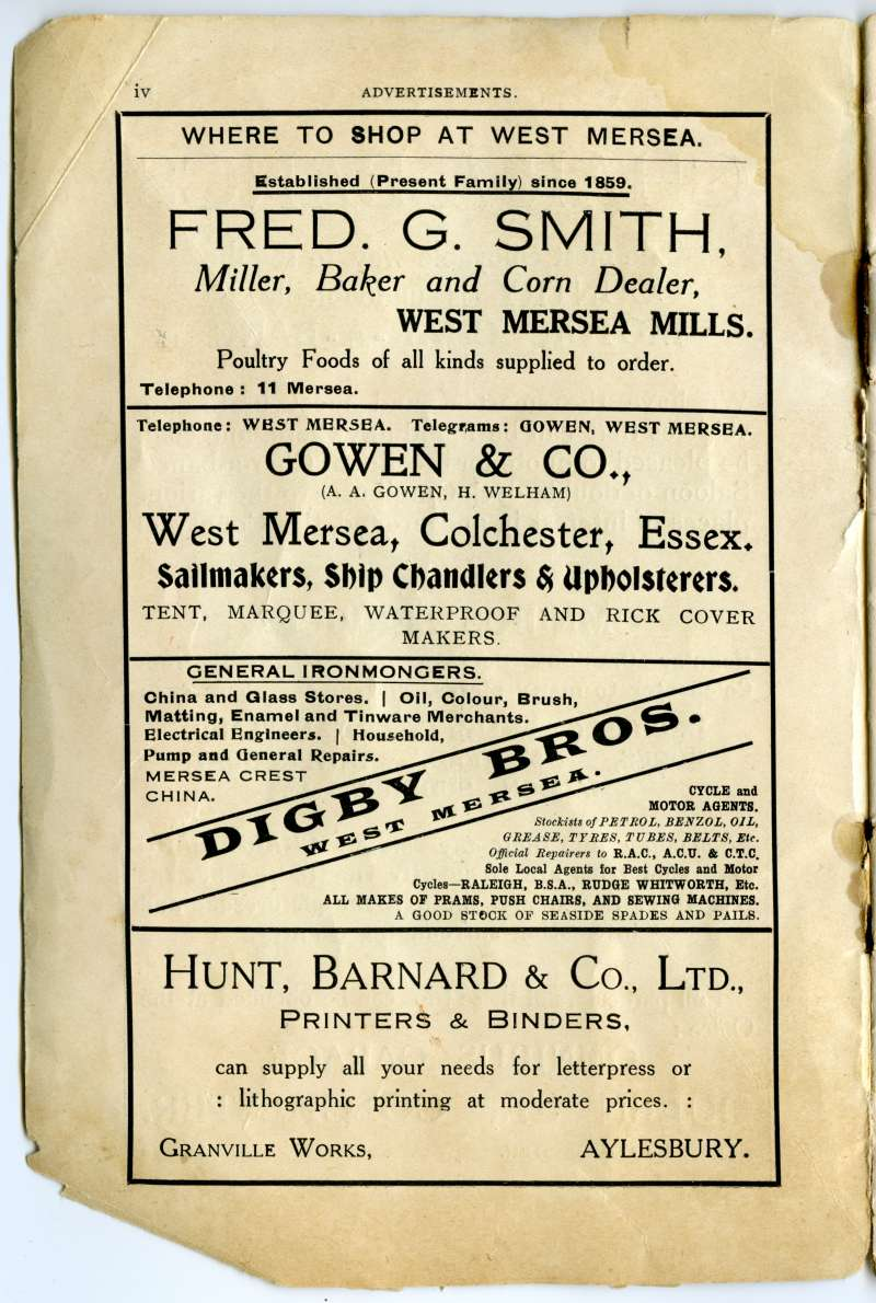 Homeland Handy Guides - Mersea Island. Page iv. Advertisements for Fred. G. Smith, Gowen & Co., Digby Bros., Hunt, Barnard & Co., printers, Aylesbury. 