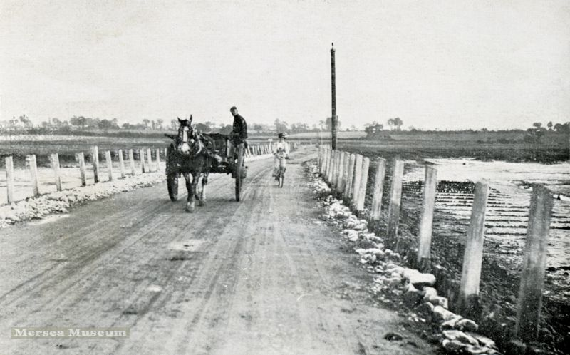 Image from Homeland Handy Guides - Mersea Island Page 11. Horse and cart crossing the Strood. The photograph also appears in the Second Edition of the guide from around 1912. 