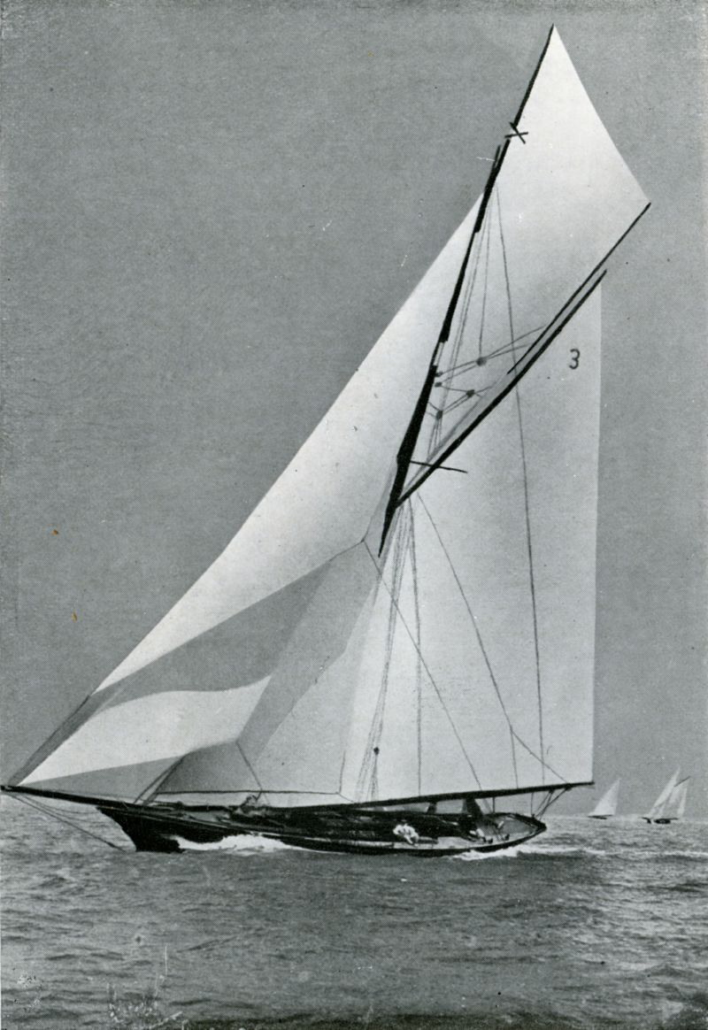 From West Mersea Official Guide, page 28. CREOLE 52-footer. Sails supplied by Gowen & Co., West Mersea.