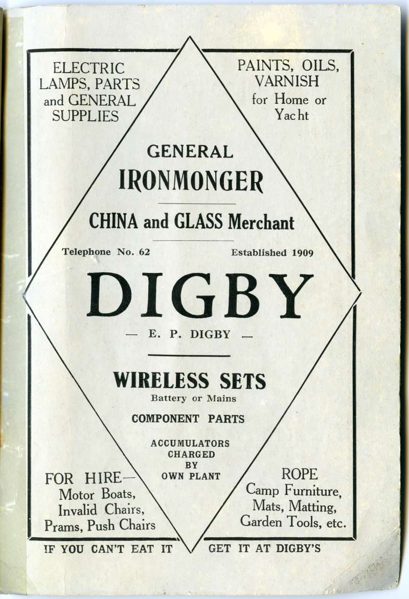 Digby advertisement from a Mersea Guide around 1935.