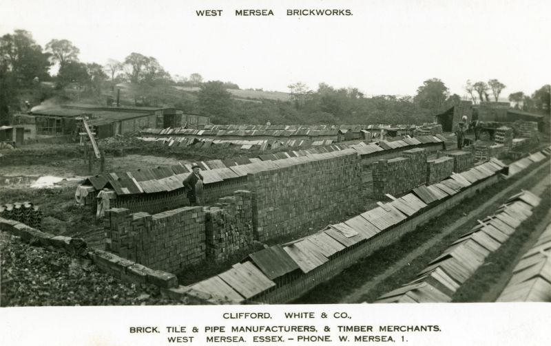 West Mersea Brickworks. Clifford White & Co., brick, tile & pipe manufacturers & timber merchants. Phone West Mersea 1.