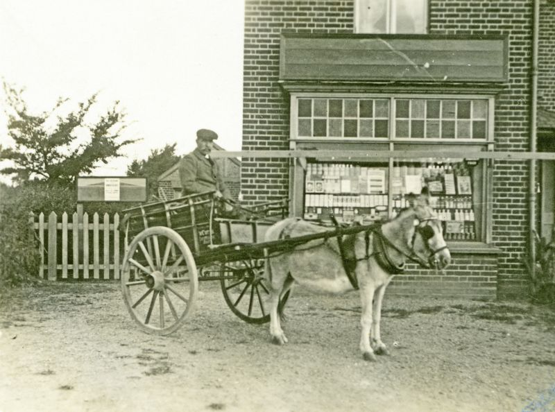 Cleghorn, chemist in Barfield Road. Cutty with donkey and cart.