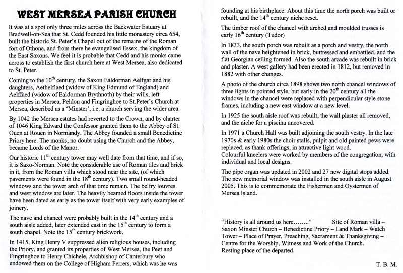A short history of West Mersea Church - pages 2 and 3. 