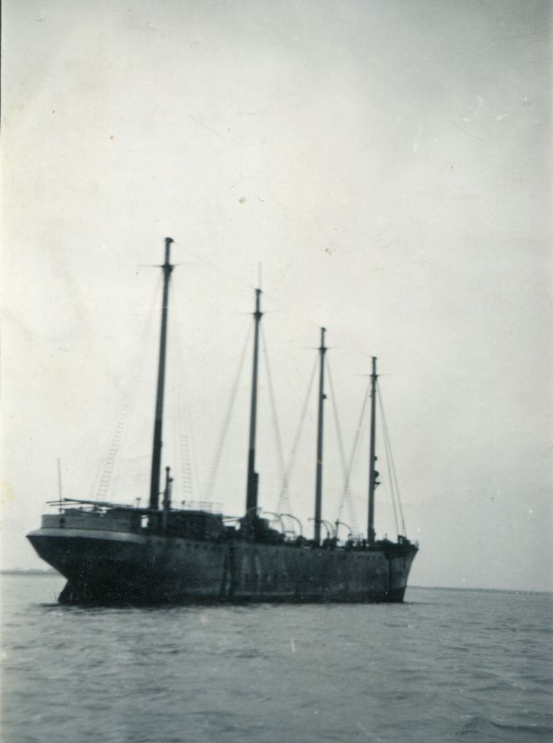 Thought to be the schooner WESTWARD / BADGER when she was in the River Blackwater. She was at Harwich as HMS BADGER during WW2 and was moored off Bradwell 1946-c1949