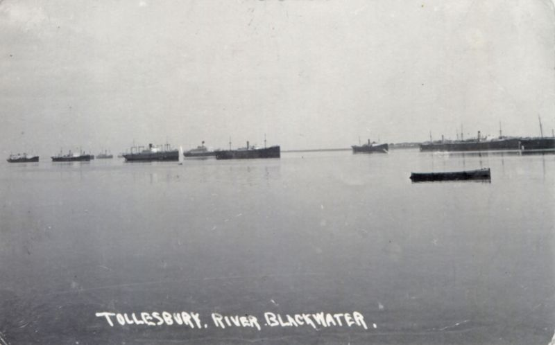 Ships laid up in River Blackwater off Tollesbury. VOLTAIRE is just left of centre - she left the river 7 May 1932. Date: 1931.