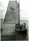 19. ID BOXB3_178_001_001 The West Mersea smack HYACINTH CK256 before the start of the 1948 West Mersea Town Regatta smack race. She was the last Mersea smack to remain without an engine...