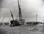Sailing barge CLIFF loading hay on Mersea Hard. Registered Ipswich and built Ipswich 1858, probably by Bayley. Main owner J Cobbold Ipswich. Official No. 20532