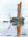 2. ID RG21_079 Stackie barge becalmed. Watercolour by Ron Green.