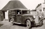 92. ID ALS_C20_019 Frederick Herbert Smith and Herbert Marrow with Fred G. Smith delivery van. It is a Morris, registration BVW367. The door advertises Lyons Cakes. Phone Number ...