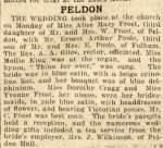 Peldon. The wedding took place at the church on Monday of Miss Alice Mary Frost, third daughter of Mr & Mrs W. Frost of Peldon, with Mr Ernest Arthur Poole, third son of Mr and Mrs E. Poole of Fulham. The Rev. A.A. Giles, rector, officiated. Miss Mollie King was at the organ ...